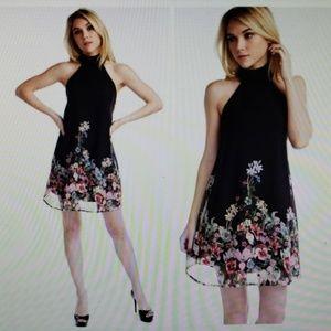 Pretty & Fun Black floral high neck halter dress.